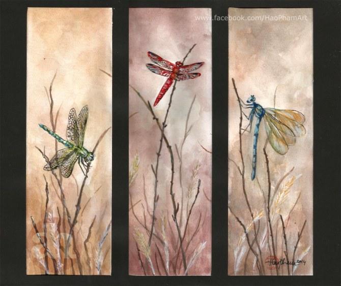 Set 3 dragonflies vertical / Bộ 3 chuồn chuồn dọc